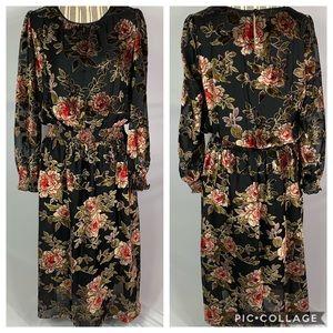 Vince Camuto Floral Velvet Burnout Midi Dress Sz M